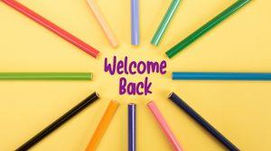 Превью обои возвращение, фраза, слова, школа, карандаши, разноцветный