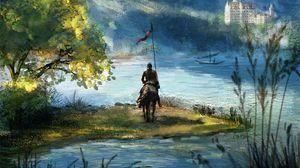 Превью обои всадник, рыцарь, лошадь, арт