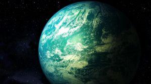 Превью обои вселенная, планета, звезды, свет