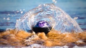 Превью обои всплеск, вода, брызги, волны, берег