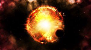 Превью обои вспышка, яркий, свечение, звезда, планеты, космос