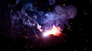Превью обои вспышка, искры, дым, темно, сварка