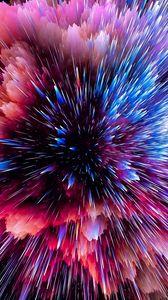 Превью обои вспышка, космический, осколки, разлетаться, яркий, разноцветный