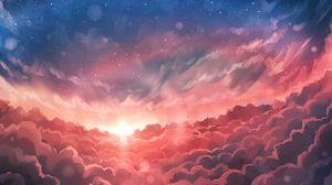 Превью обои вспышка, небо, облака, блики, свет, арт