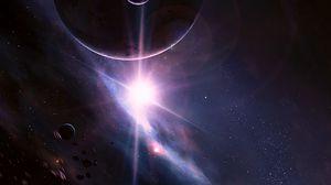 Превью обои вспышка, планеты, астероиды, звезды, космос