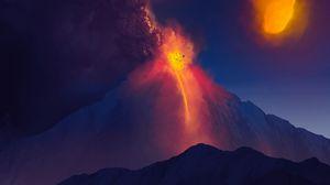 Превью обои вулкан, гора, арт, камни, лава