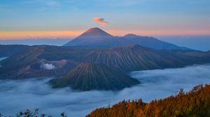 Превью обои вулкан, горы, бромо-тенгер-семеру, семеру, индонезия