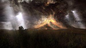 Превью обои вулкан, извержение, катаклизм, катастрофа, лава, дым, птицы, искусство