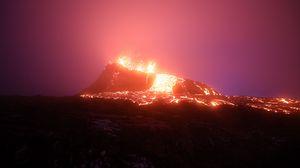 Превью обои вулкан, извержение, лава, горячий