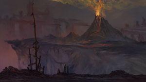 Превью обои вулкан, извержение, мрак, темный, арт