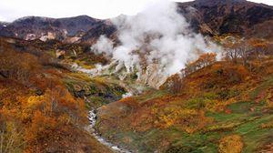 Превью обои вулкан, извержение, пар, дым, горы