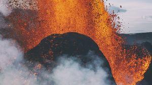 Превью обои вулкан, извержение, взрыв, лава