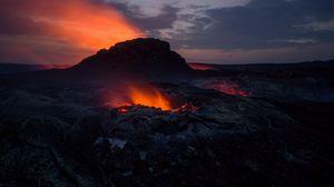 Превью обои вулкан, кратер, горячий, магма, огонь