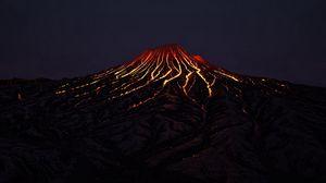 Превью обои вулкан, кратер, лава, горячий, темный