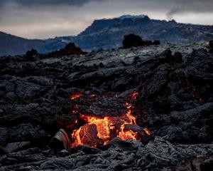 Превью обои вулкан, лава, горячий, природа