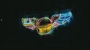 Превью обои вывеска, крылья, неон, подсветка, ночь