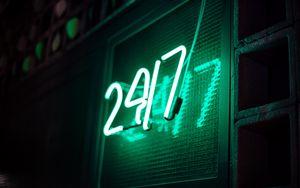 Превью обои вывеска, неон, цифры, свет, зеленый