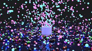 Превью обои взрыв, краска, шары, полет