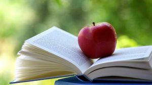 Превью обои яблоко, книга, блики, размытость