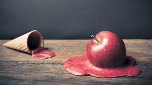 Превью обои яблоко, мороженое, таить, рожок, вафля