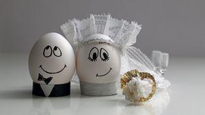 Превью обои яйца, свадьба, пасха, украшение, пара