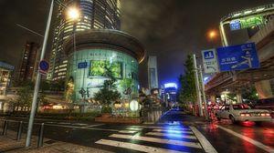 Превью обои япония, japan, улица, дорога, ночь, мегаполис
