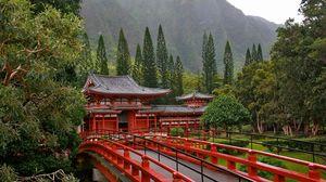 Превью обои япония, мост, деревья, красный, горы, архитектура