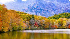 Превью обои япония, тогакуси, озеро, горы, деревья, осень