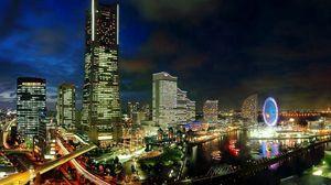 Превью обои япония, йокогама, вечер, мегаполис, развитие, огни города