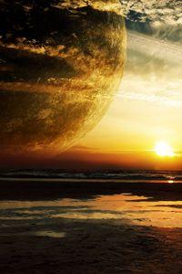 Превью обои закат, море, кольца, планета