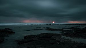 Превью обои закат, шторм, море, горизонт