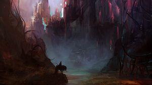 Превью обои замок, арт, наездник, лошадь, фантастический, силуэт