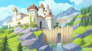 Превью обои замок, башни, архитектура, горы, арт