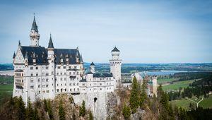 Превью обои замок, башни, архитектура, деревья, вид сверху