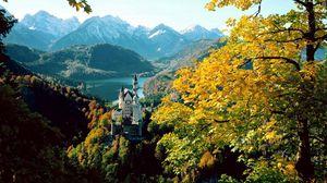 Превью обои замок, бавария, высота, осень, германия