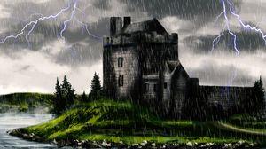 Превью обои замок, мрак, дождь, арт
