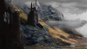 Превью обои замок, мрак, силуэт, арт