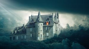 Превью обои замок, облака, мрачный, мистический