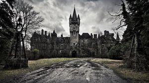 Превью обои замок, старинный, небо, пасмурно