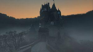 Превью обои замок, туман, горы, виршем, германия