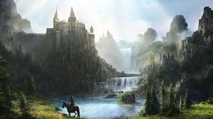 Превью обои замок, водопад, горы, зелень, всадник