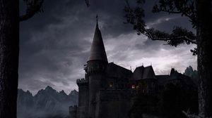 Превью обои замок, возвышение, ночь, свет, деревья, стены