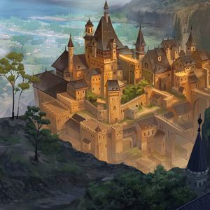 Превью обои замок, здания, фэнтези, арт