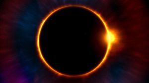 Превью обои затмение, луна, солнце, астрономия, звезды