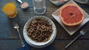 Превью обои завтрак, грейпфрут, сок, молоко