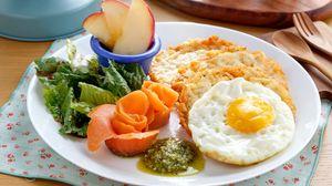 Превью обои завтрак, яичница, овощи, сервировка