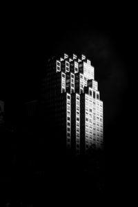 Превью обои здание, архитектура, черно-белый, черный
