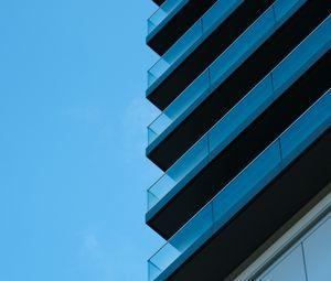 Превью обои здание, архитектура, стекло, небо, синий, минимализм