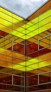 Превью обои здание, архитектура, стекло, отражение, желтый