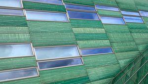 Превью обои здание, фасад, панели, окна, зеленый